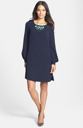 Adrianna Papell Embellished Neck A-Line Dress