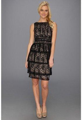 Maggy London Lace Floral Vine Tiered Dress (Black) - Apparel