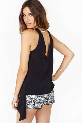 Nasty Gal Silver Lining Wrap Top