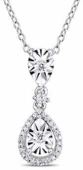 Concerto Sterling Silver and 0.2 TCW Diamond Halo Pendant Necklace