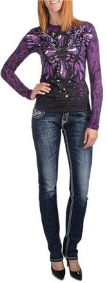 Rock & Roll Cowgirl Abstract Embroidered Jeans - Low Rise, Skinny (For Women)