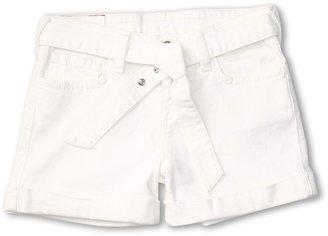 True Religion Grils' Heidi Tie-Front Short Overdye (Toddler/Little Kids/Big Kids) (White) - Apparel