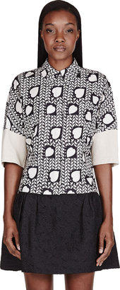 Stella McCartney Black & Beige Heart Print Panelled Blouse