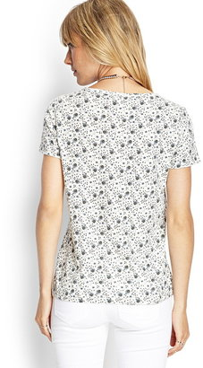 Forever 21 Contemporary Floral Print Jersey Tee
