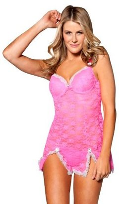 Just Sexy Women's Stetch Babydoll with Contrast Lace Trim