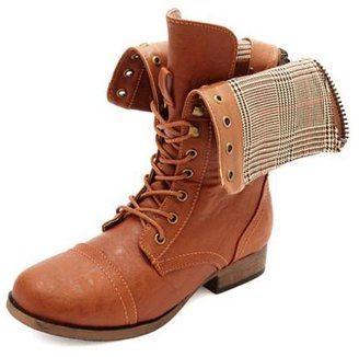 Charlotte Russe Plaid-Lined Fold-Over Combat Boots