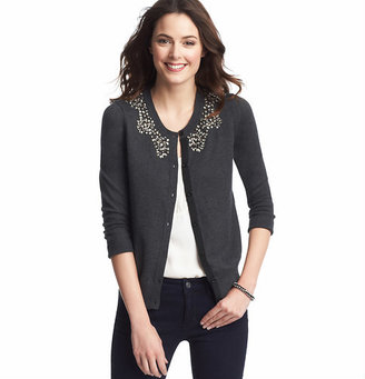 LOFT Petite Jeweled Collar Cardigan