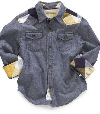 GUESS Shirt, Boys Sidewinner Plaid Trim Shirt