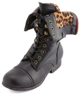Charlotte Russe Leopard-Lined Zip Combat Boot