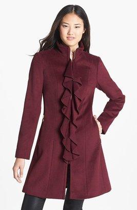 T Tahari 'Kendra' Ruffle Front Walking Coat