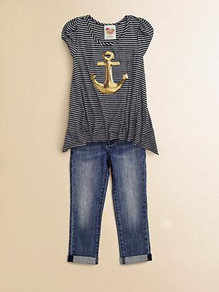 Kiddo Toddler's & Little Girl's Sequined Anchor Top