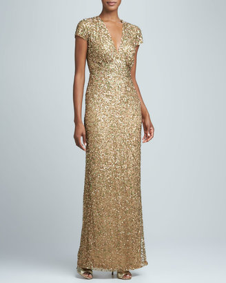 Nicole Miller Sequined Cap-Sleeve Gown