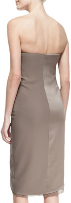 Halston Satin Strapless Wrap Dress
