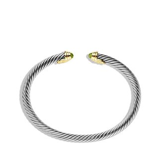 David Yurman Cable Kids August Birthstone Small Bracelet with Peridot and Gold