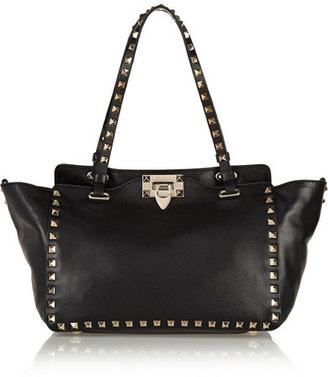 Valentino - The Rockstud Small Leather Trapeze Bag - Black $2,295 thestylecure.com