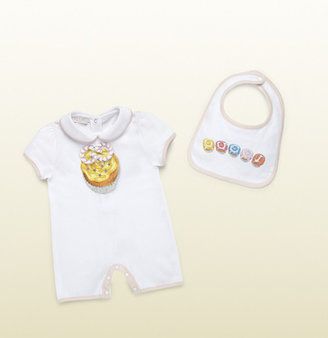 Gucci cupcakes print sleepsuit and bib gift set