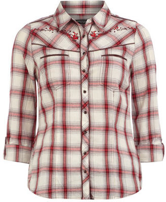 Dorothy Perkins Red embroidered check shirt