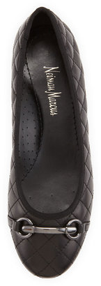 Neiman Marcus Suzy Quilted Buckled Flat, Black