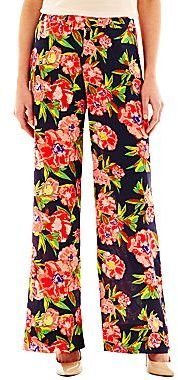 JCPenney Wide-Leg Print Pull-On Pants