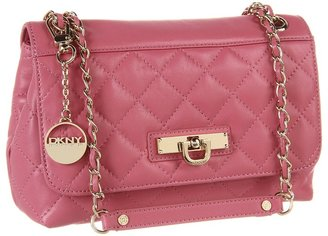 DKNY Items Quilted Nappa Flap Crossbody W/Adj Chain (Coral) - Bags and Luggage