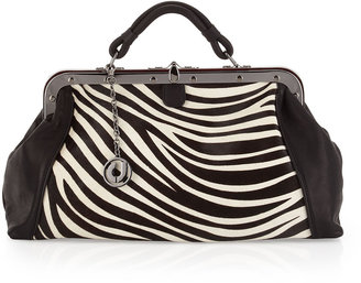 Charles Jourdan Galaxy II Zebra-Print Leather-Calf Hair Satchel
