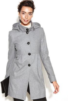 DKNY Petite Hooded Wool-Blend Babydoll Coat