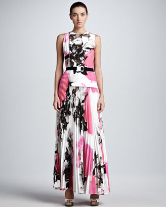 Christopher Kane Printed Half-Tab Pleated Maxi Dress