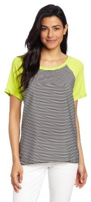 Chaus Women's Cap Sleeve High Low Black and White Stripe Top