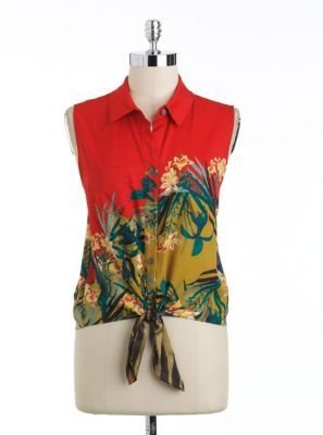 Vince Camuto Tropical Print Tie-Front Top