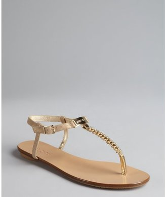 Jimmy Choo gold leather crystal embellished t-strap 'Wander' sandals