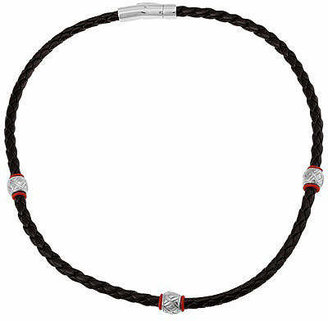 FINE JEWELRY Mens Braided Leather & Stainless Steel Necklace