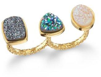 Dara Ettinger Mimi Two Finger Ring, Halo/Ocean/Black