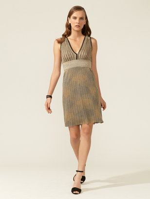 M Missoni Contrast Waist Panel V-Neck Dress