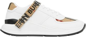 Burberry Logo Detail Leather And Vintage Check Sneakers