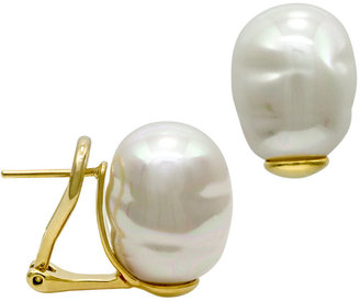 Majorica 18k Gold over Sterling Silver Earrings, Organic Man-Made Baroque Pearl