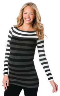 A Pea in the Pod Bailey 44 Long Sleeve Boat Neck Striped Maternity Top