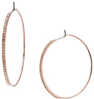 Michael Kors Pave Hoop Earrings, Rose Golden
