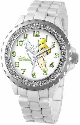 Disney Womens Tinker Bell White Enamel Sparkle Watch