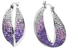 Lord & Taylor Sterling Silver Tanzanite Colored Crystal Hoop Earrings