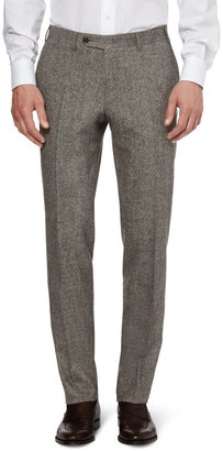 Canali Grey Tapered Wool-Blend Suit Trousers