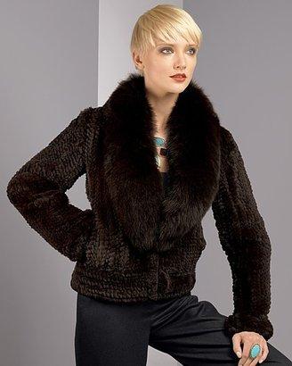 Dena Women's Knitted Rex Rabbit Jacket with Fox Collar
