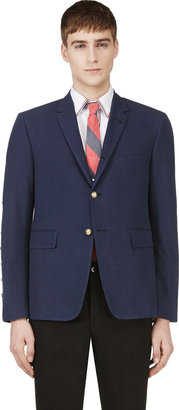 Thom Browne Navy Anchor Button Seersucker Blazer