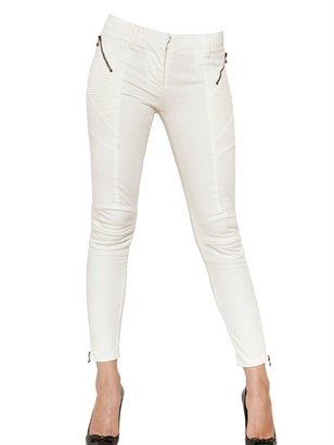 Balmain Stretch Cotton Drill Biker Jeans