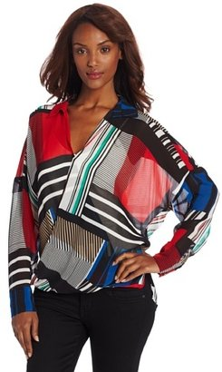 Chaus Women's Long Sleeve Cross Wrap Patchwork Top