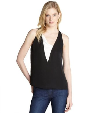 A.L.C. black and white silk 'Sigrid' colorblock sleeveless top