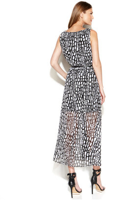 Calvin Klein Sleeveless Printed Colorblock Maxi Dress