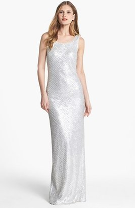 Laundry by Shelli Segal Faux Leather Sequin Tank Gown