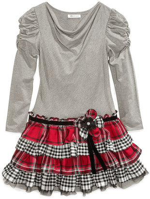 Bonnie Jean Dress, Girls Ruched-Sleeve Plaid Tiered