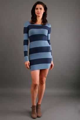 Minnie Rose Banded Crewneck Dress in Indigo/Denim Blue