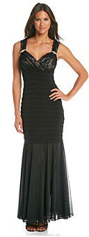 R & M Richards RM Richards R&M Richards® Petites' Lace Shutter Long Dress